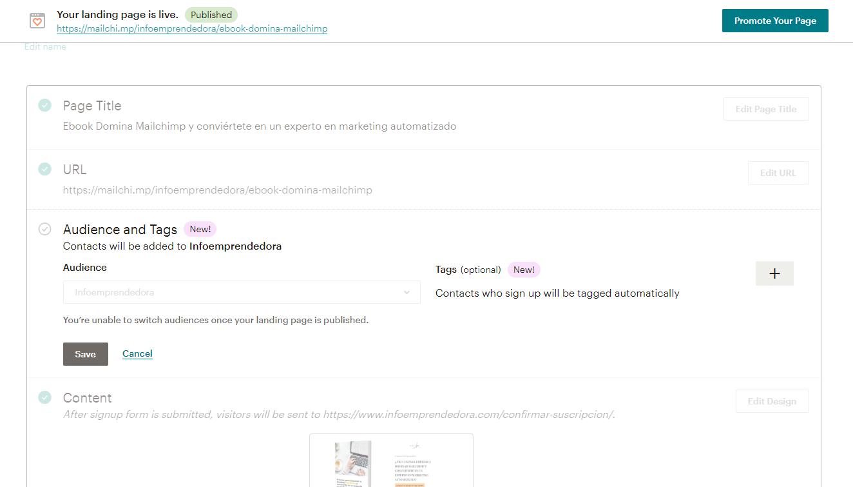 landing pages mailchimp tags etiquetas